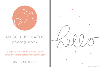 Custom business card design for Angela Richards Photography by SIMPLE SALLY