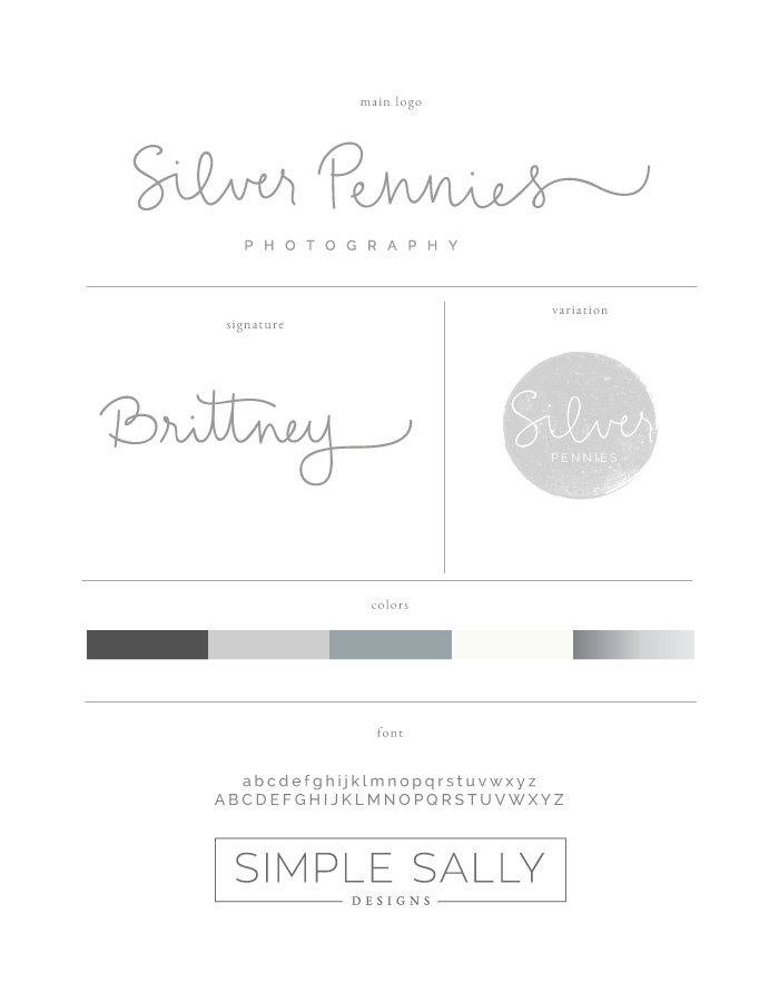 Silver Pennies style guide by Simple Sally Designs | www.simplesallydesigns.com | #logo #simple #custom #handwritten
