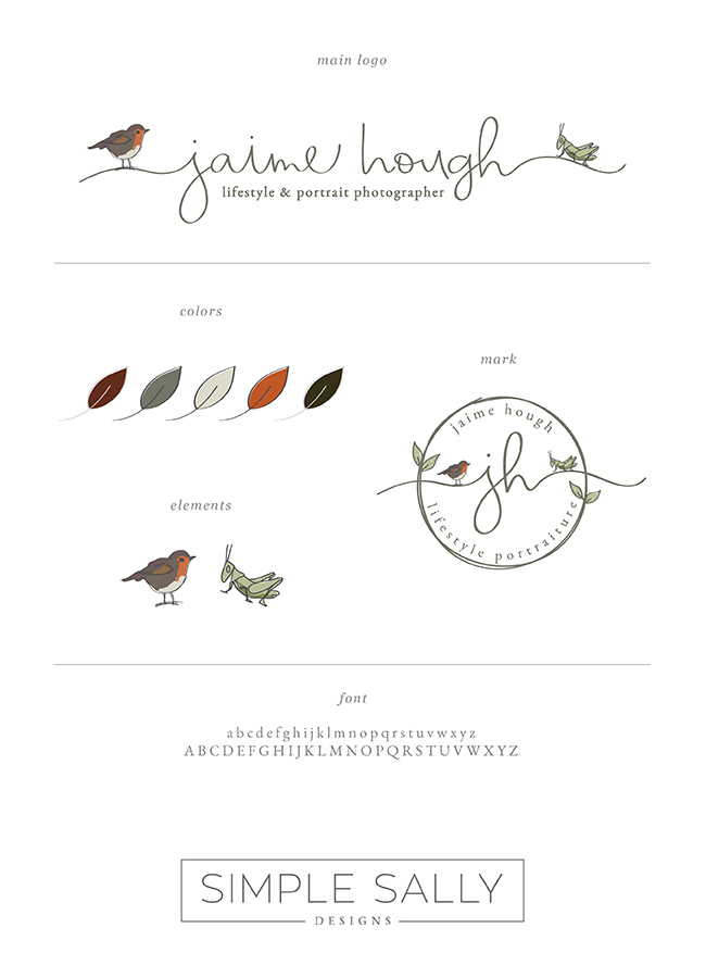 Jaime Hough style guide by Simple Sally | #logo #customlogo #simplesally #simplelogo