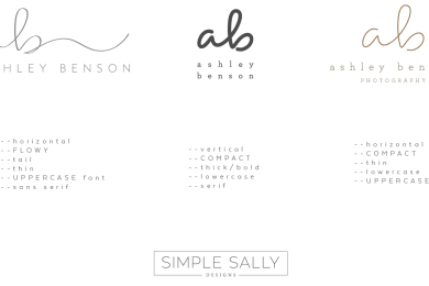 Initials logo layout options by SIMPLE SALLY designs | #initials #logo #simplesally