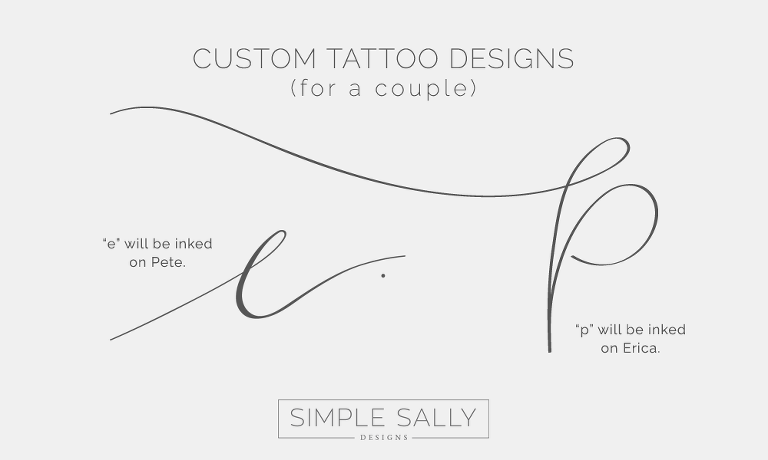 Matching tattoos for a couple | Simple Sally Designs | #coupletattoo #tattoo #initialstattoo #initials #simple