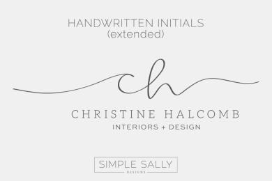Handwritten Initials by Simple Sally   #initials #handwritten #simple #simplelogo