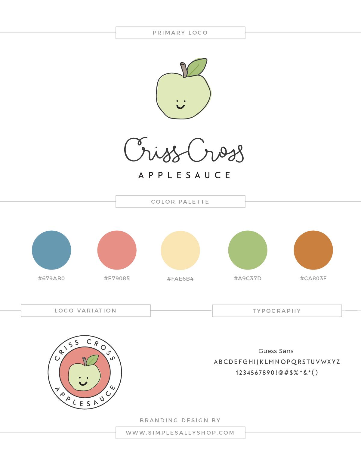 Criss Cross Applesauce Logo Design by Simple Sally | #logo #simple #simplelogo #crisscrossapplesauce